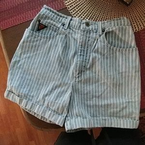 Vintage high waist striped Jean shorts